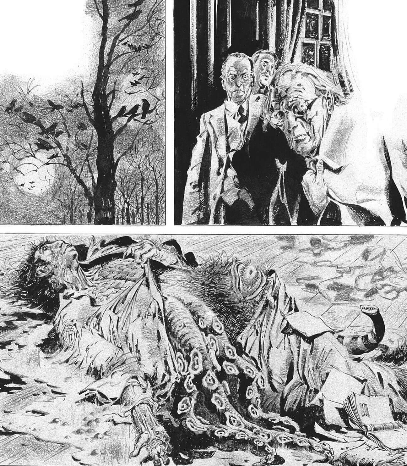 """Tavola da """"I miti di Cthulhu"""" di Alberto Breccia, in mostra al Festival del fumetto Bilbolbul 2019"""