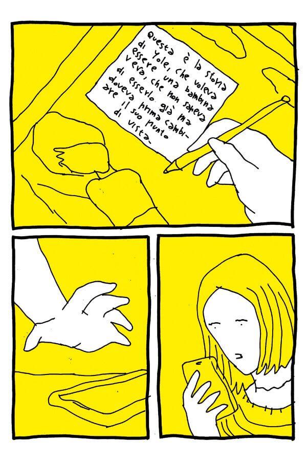 """Tavola di """"P. La mia adolescenza trans"""" di Fumetti Brutti, in mostra al Festival del fumetto Bilbolbul 2019"""