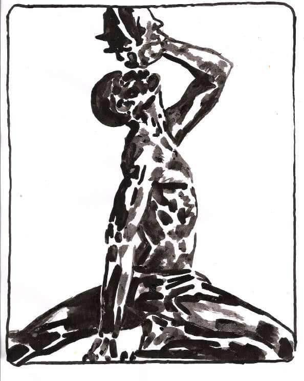 Il manifesto di Bilbolbul 2019: illustrazione di Yvan Alagbé, è la rielaborazione del Marron inconnu de Saint-Domingue, la statua realizzata nel 1967 per celebrare la liberazione di Santo Domingo dai francesi